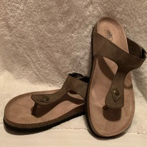 Brown Leather Thong Sandals - White Mountain